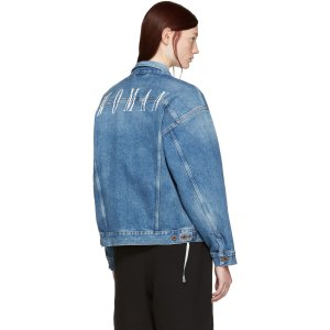 Off-White Blue Denim Sprayed Diagonals Jacket