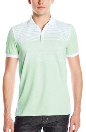 Calvin Klein Men's Slim Fit Liquid Cotton Short Sleeve Engineered Stripe Polo