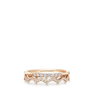Rose Gold Diamond Waves Ring Stack | Astley Clarke London