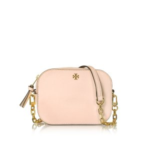 Tory Burch Pale Apricot Robinson Saffiano Leather Round Crossbody Bag at FORZIERI