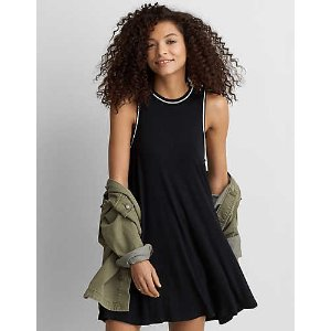 AEO Tipped Hi-Neck Shift Dress, True Black | American Eagle Outfitters