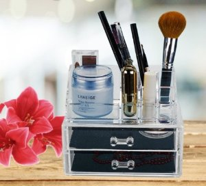 $10.99 Acrylic Makeup & Jewelry Organizer, Cosmetic & Accessories Display Box, 2 Piece Set