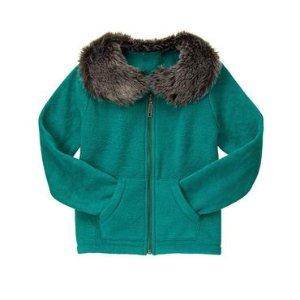 Girls Teal Fur-Collar Cardigan by Gymboree