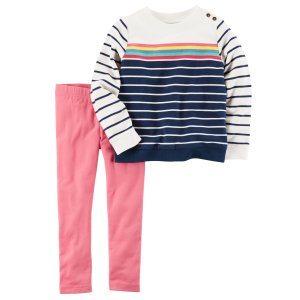 Baby Girl 2-Piece French Terry Top & Legging Set | Carters.com