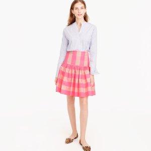Taffeta Skirt In Neon Buffalo女士格子短裙