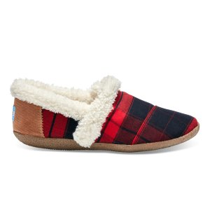 RED AND BLACK PLAID WOMEN'S HOUSE SLIPPERS