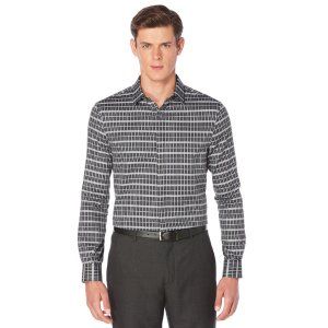 Windowpane Plaid Pattern Shirt | Perry Ellis
