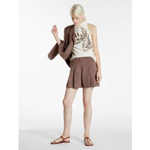 Ultrasuede Pleated Shorts