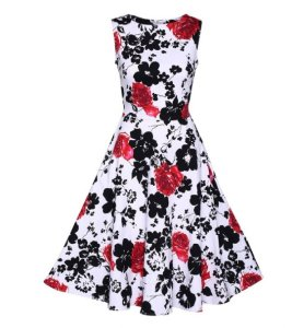 From $17.84 Creti Women's Vintage Classy 1950s Floral Sleeveless Party Picnic Cocktail Dress