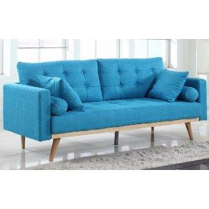 Mid-Century Modern Tufted Linen Fabric Sofa - Light Blue - Sofamania