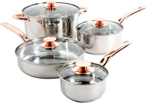 $17.54 Sunbeam Ansonville 8-Piece Cookware Set, Silver/Copper