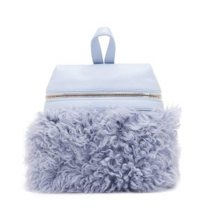 SKY BLUE SHEARLING SMALL BACKPACK