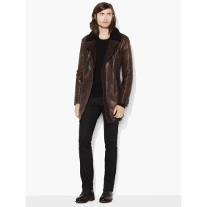 Double Breasted Leather Coat - John Varvatos