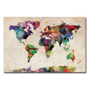 Trademark Fine Art Urban Watercolor World Map