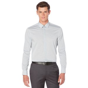 Non-Iron Horizontal Fine Stripe Shirt | Perry Ellis