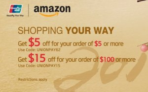 $5 Off $5 or $15 Off $100China Union Pay Promotion @ Amazon.com