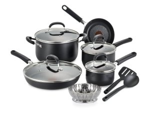 T-fal C085SC74 OptiCook Thermo-Spot Titanium Nonstick Dishwasher Safe Oven Safe Fry Pan Cookware Set, 12-Piece, Black