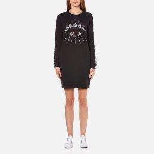 KENZO Women's Eye Sleeve Logo Sweatshirt Dress - Black - Free UK Delivery over £50