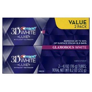 Crest 3D White Luxe Glamorous White Vibrant Mint Flavor Whitening Toothpaste Twin Pack 8.2 Oz @ Amazon