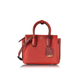MCM Milla Ruby Red Leather Mini Tote at FORZIERI