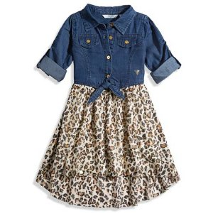Little Girl Metallic Leopard Two-Fer Dress (2-6x)