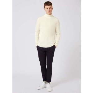 TOPMAN PREMIUM Off White Roll Neck Slim Fit Sweater Containing Cashmere - New This Week - New In - TOPMAN USA