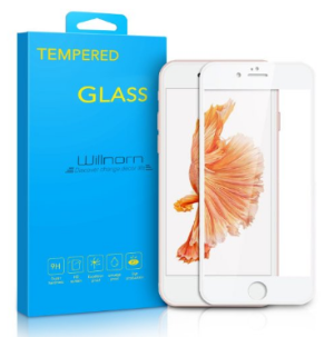$2.99 Willnorn Full Screen Coverage Protection Premium Tempered Glass Screen Protector for iPhone 6s/6 (4.7 Inch)-White Frame