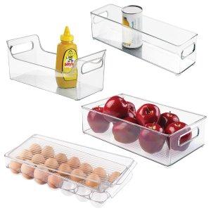 InterDesign Refrigerator, Freezer and Kitchen Storage Organizer Bins, 4 Piece Set