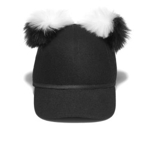Charlotte Simone Women's Sass Cap Double Pom - Black/White - One Size - Free UK Delivery over £50