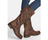 Frye Veronica Slouch - Wide Calf Dark Brown Extended Calf Shine Vintage - 6pm.com