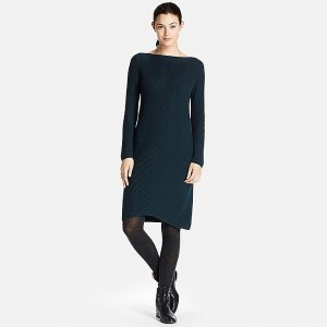 WOMEN MIDDLE GAUGE KNIT A-LINE DRESS
