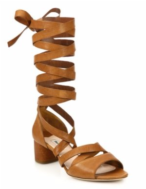 Miu Miu Leather Lace-Up Gladiator Sandals