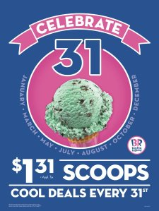In-store Only Baskin-Robbins $1.31 per Ice Cream Scoops on August 31