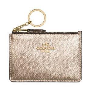 COACH Boxed Mini Skinny ID in Metallic Leather - Handbags & Accessories - Macy's