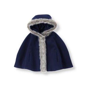 Baby Girl Navy Faux-Fur Trim Cape at JanieandJack