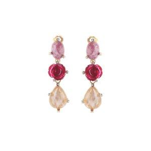 Semi-Precious and Resin Rose Earrings - Sale