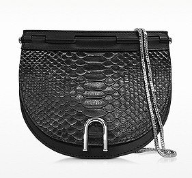 3.1 PHILLIP LIM Hana Black and Nude Anaconda Embossed Leather Saddle Chain Bag @ Forzieri