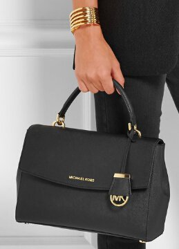 Michael Kors Ava Saffiano Leather Crossbody Satchel Black