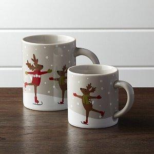 Skating Reindeer Mugs   Crate and Barrel