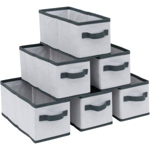Mainstays K/D Drawers, White with Gray Trim, 6-Pack