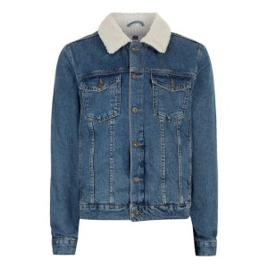 Blue Faux Shearling Collar Denim Jacket - Trending Now In LA - New In - TOPMAN USA