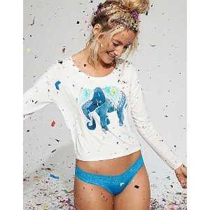 Aerie Shine Thong + Boho Lace, Splash | Aerie for American Eagle