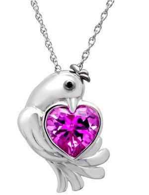 3 5/8 ct Pink Sapphire Dove Pendant with Diamond