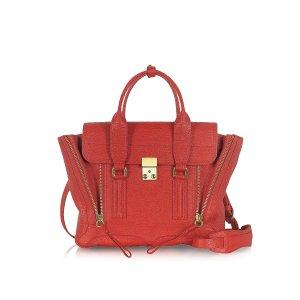 3.1 Phillip Lim Red Leather Pashli Medium Satchel at FORZIERI