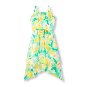 Girls Sleeveless Floral Print Shark-Bite Maxi Dress
