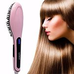 Waker WK-ZFS01 Hair Straightener, Anion Hair Care LCD Display Anti-Static Anti-Scald Straightening Heating Detangling Brush Comb
