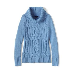 Women's Merino Blend Cable Cowl Neck Sweater from Lands' End