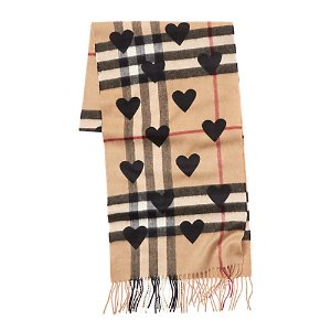 Burberry Classic Check & Hearts Cashmere Scarf