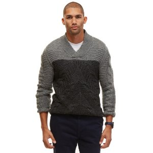 SHAWL COLLAR CABLE SWEATER
