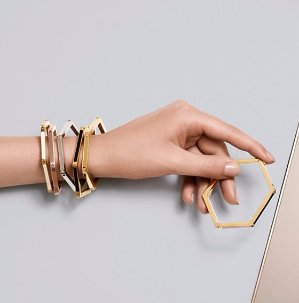 HEX-LOGO HINGED BRACELET @ Tory Burch